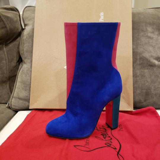 Christian Louboutin Color-blocking Suede Heels Blue, Pink, Green Boots Image 4