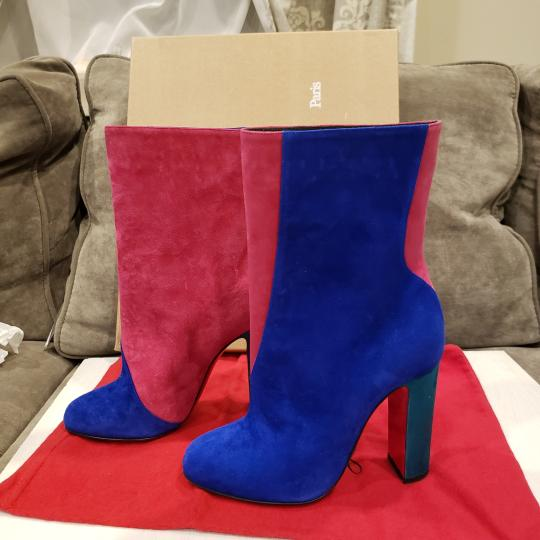 Christian Louboutin Color-blocking Suede Heels Blue, Pink, Green Boots Image 6