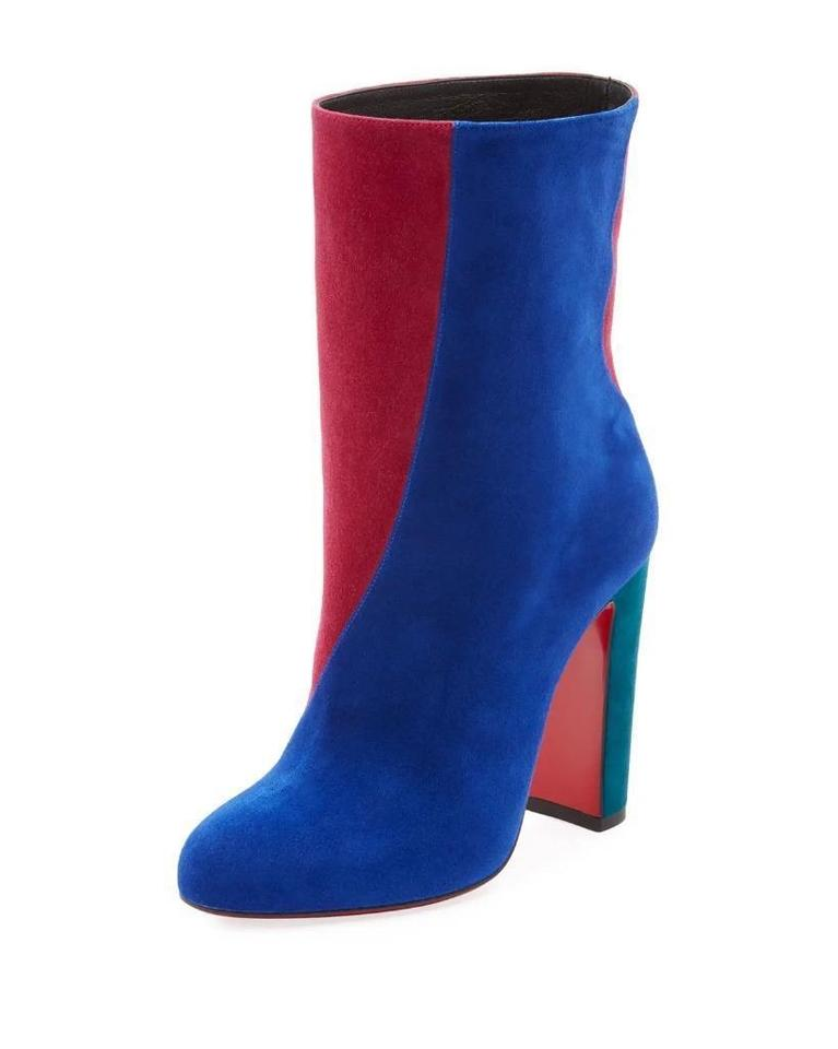 Christian Louboutin Blue Pink Green Botty Double 100 Colorblock Suede Heels  Ankle Boots Booties 9d8d65452