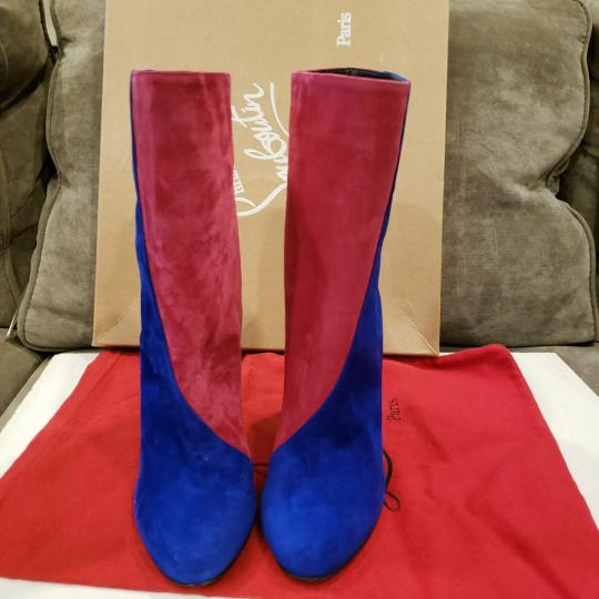 Christian Louboutin Color-blocking Suede Heels Blue, Pink, Green Boots Image 3