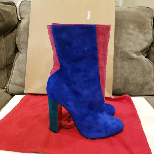 Christian Louboutin Color-blocking Suede Heels Blue, Pink, Green Boots Image 8