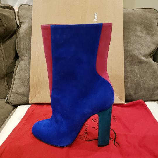 Christian Louboutin Color-blocking Suede Heels Blue, Pink, Green Boots Image 11