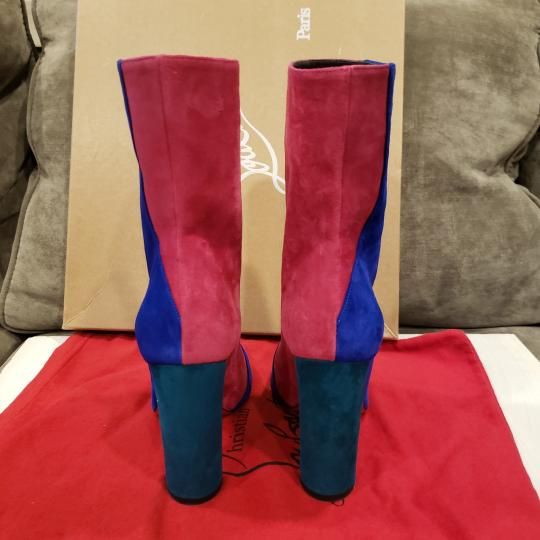 Christian Louboutin Color-blocking Suede Heels Blue, Pink, Green Boots Image 5