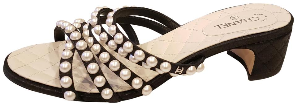 3575edfff22 Chanel Black Rev Satin Open Toe Pearl Strings Embellished Sandals  Slidesshoes Mules Slides