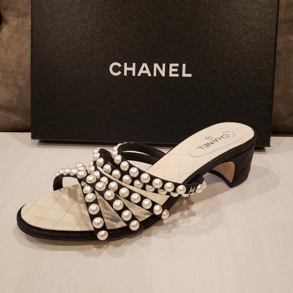 40d86ac86f0 Chanel Black Rev Satin Open Toe Pearl Strings Embellished Sandals  Slidesshoes Mules Slides Size EU 37 (Approx. US 7) Regular (M