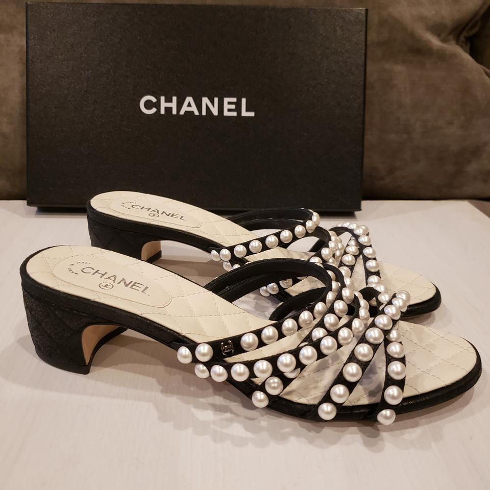 03c930fe433 Chanel Black Rev Satin Open Toe Pearl Strings Embellished Sandals ...