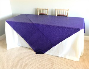 Purple Sequin Overlay Tablecloth
