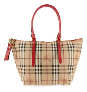 Burberry Haymarket Salisbury Coated Canvas Tote in Beige