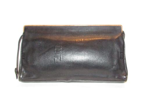 Fendi Mint Vintage Lagerfield Influence Asian/Deco Look Embossed Linear/Ff Logo Print black leather with a linear design and camel trim Clutch Image 6