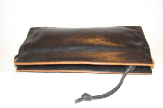 Fendi Mint Vintage Lagerfield Influence Asian/Deco Look Embossed Linear/Ff Logo Print black leather with a linear design and camel trim Clutch Image 8