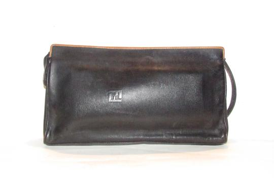 Fendi Mint Vintage Lagerfield Influence Asian/Deco Look Embossed Linear/Ff Logo Print black leather with a linear design and camel trim Clutch Image 9