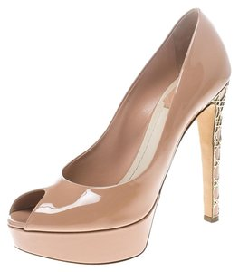 Dior Patent Leather Peep Toe Platform Pink Pumps