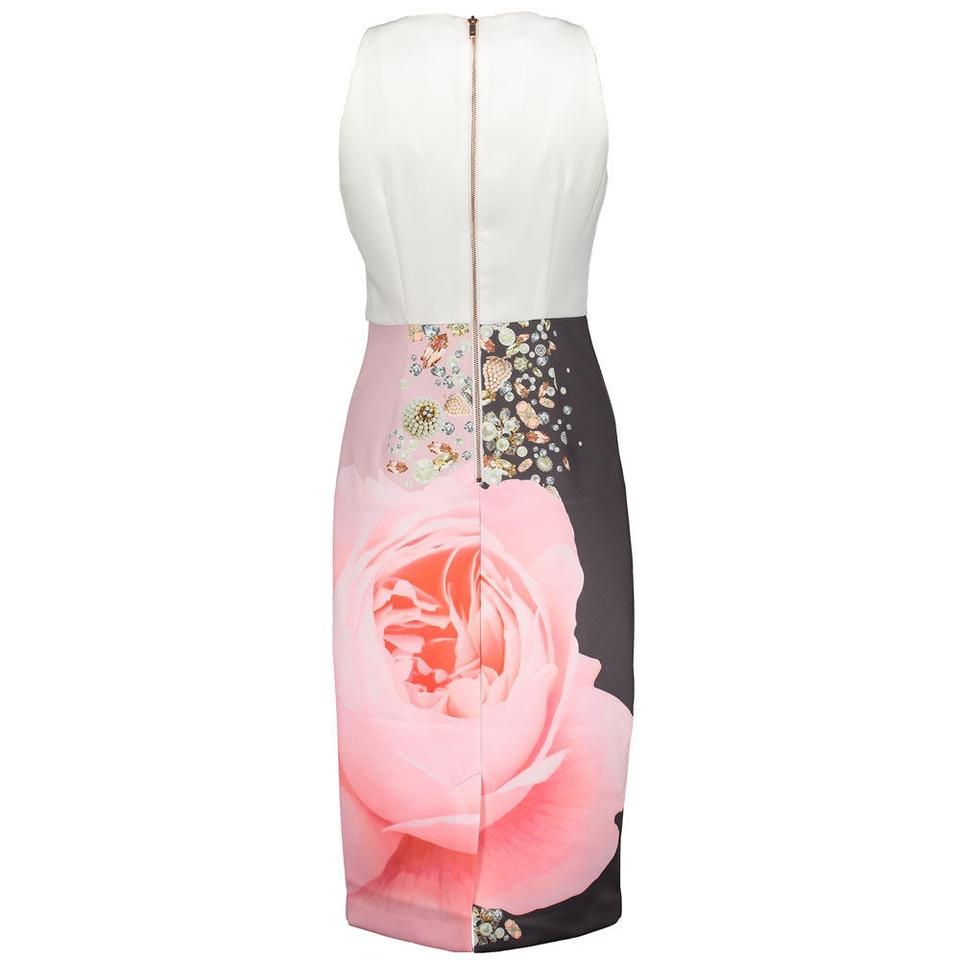 bdd74b77a4ca Ted Baker White Pink Gray London Rubelle Blenheim Palace Midi 3 ...