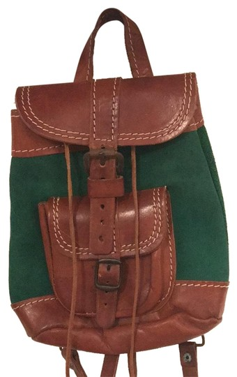 Preload https://img-static.tradesy.com/item/24751992/vintage-handmade-mini-green-and-brown-leather-suede-backpack-0-1-540-540.jpg