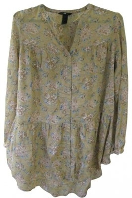 Preload https://item3.tradesy.com/images/h-and-m-tan-floral-waist-tunic-blouse-size-14-l-24752-0-0.jpg?width=400&height=650