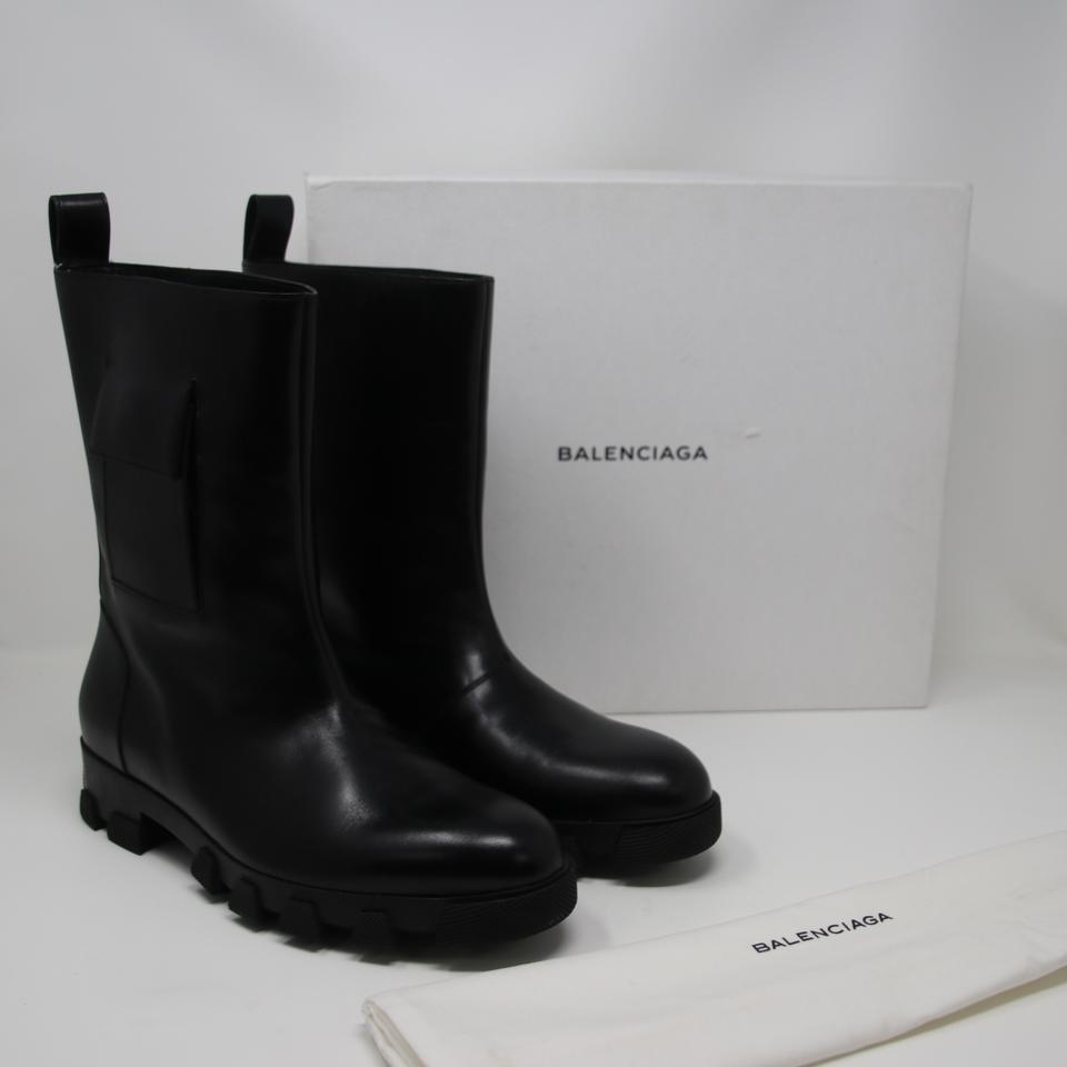 39fa1a61483 Balenciaga Black Mens Leather Pocketed Rubber Sole Boots Size 40 Shoes  Image 9. 12345678910