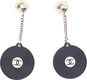 Chanel Chanel Vintage Super Rare Black Record Disc Dangling Piercing Earrings