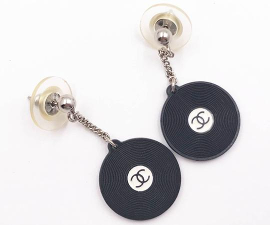 Chanel Chanel Vintage Super Rare Black Record Disc Dangling Piercing Earrings Image 2