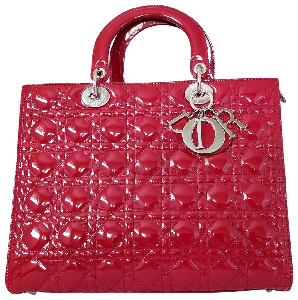 c3ffed539c34 Dior Lady Dior Large Purse Red Patent Leather Tote - Tradesy