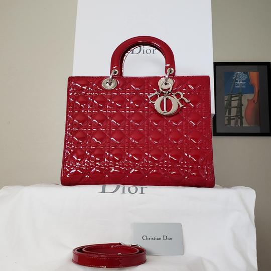 Dior Lady Large Purse Tote in red Image 3