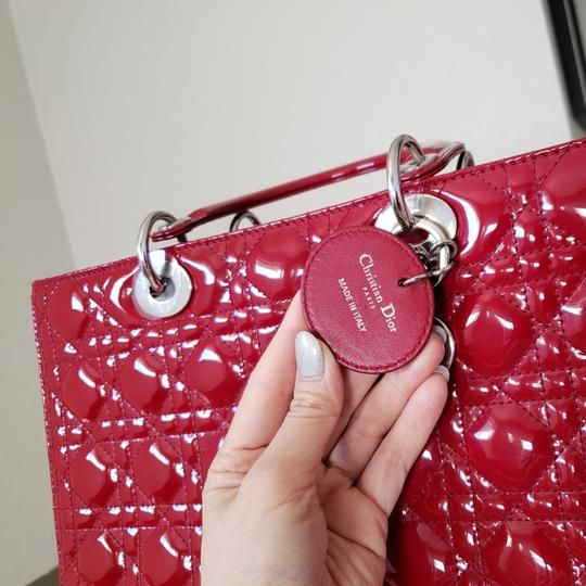 Dior Lady Large Purse Tote in red Image 6