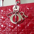 Dior Lady Large Purse Tote in red Image 7