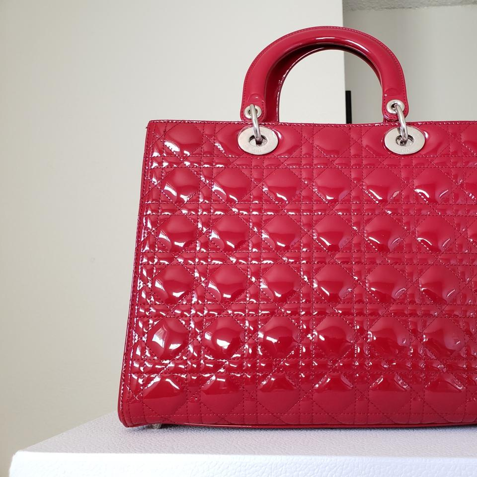 73b6a75caf12 Dior Lady Dior Large Purse Red Patent Leather Tote - Tradesy