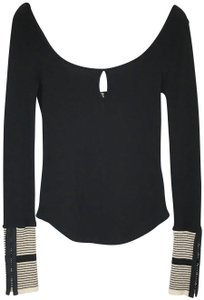 Free People Thermal Cuff Keyhole Fitted Top Black