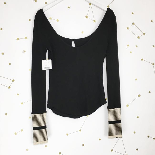 Free People Thermal Cuff Keyhole Fitted Top Black Image 3