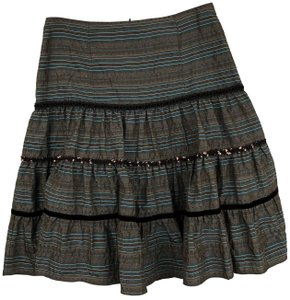 Nanette Lepore Striped Metallic Tiered Sequin Skirt Brown, Blue