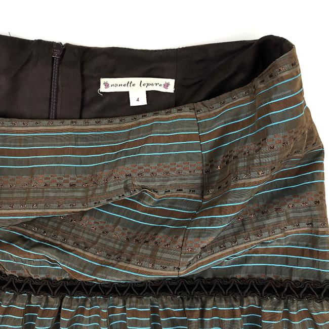 Nanette Lepore Striped Metallic Tiered Sequin Skirt Brown, Blue Image 1