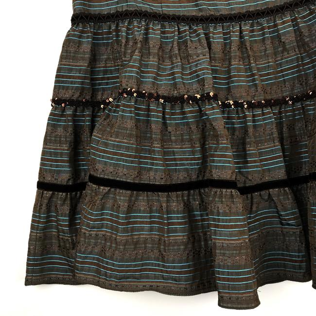 Nanette Lepore Striped Metallic Tiered Sequin Skirt Brown, Blue Image 2