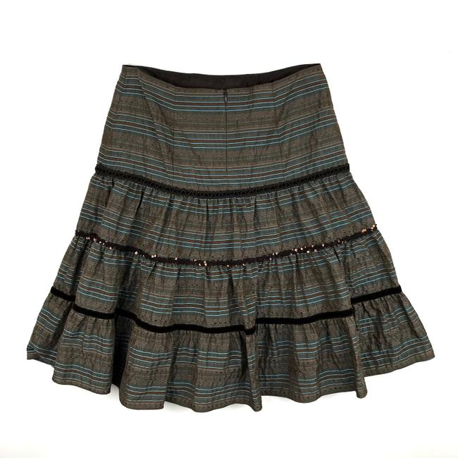 Nanette Lepore Striped Metallic Tiered Sequin Skirt Brown, Blue Image 3