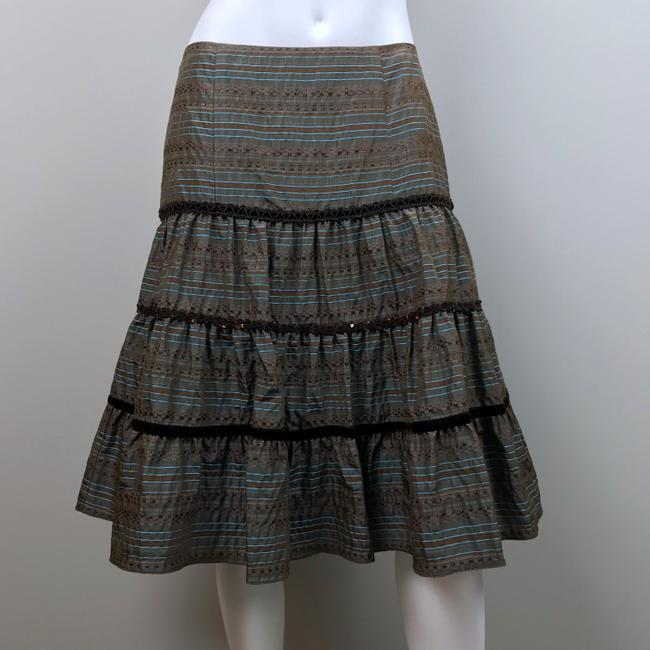 Nanette Lepore Striped Metallic Tiered Sequin Skirt Brown, Blue Image 4