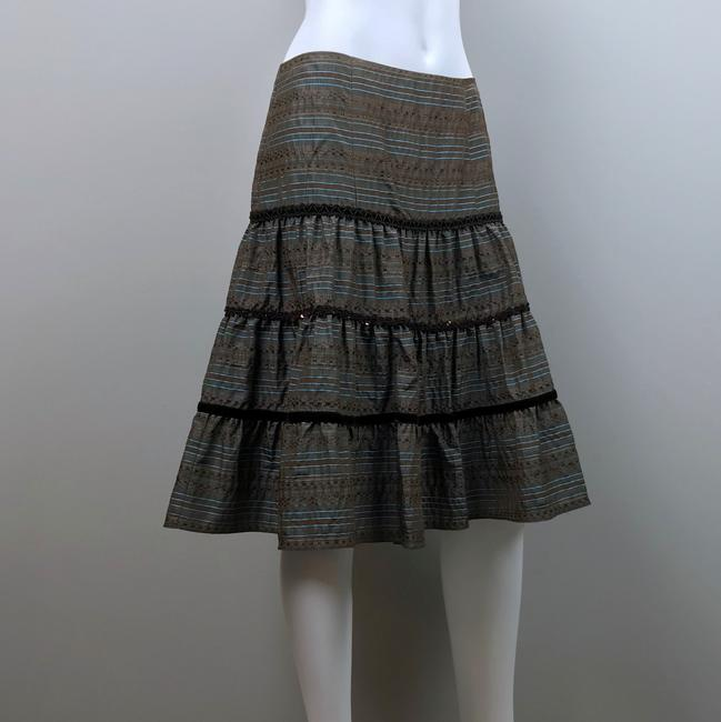 Nanette Lepore Striped Metallic Tiered Sequin Skirt Brown, Blue Image 5