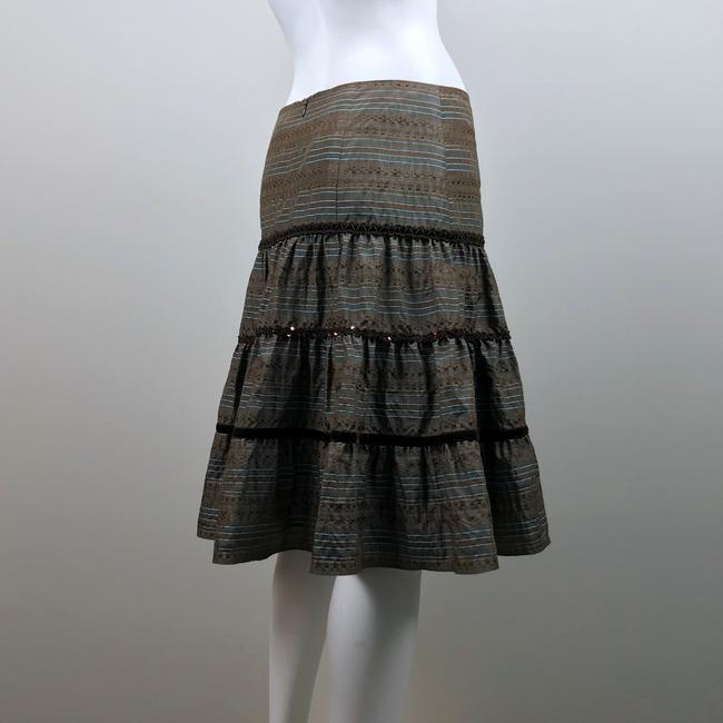 Nanette Lepore Striped Metallic Tiered Sequin Skirt Brown, Blue Image 6