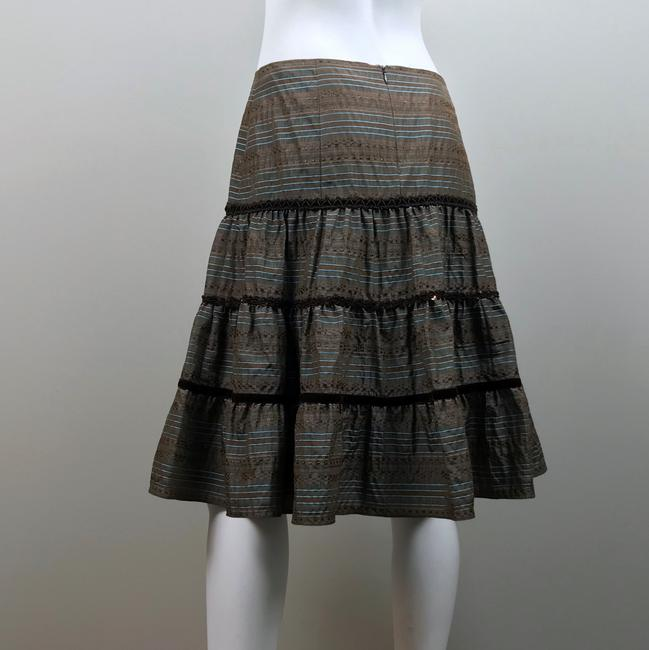 Nanette Lepore Striped Metallic Tiered Sequin Skirt Brown, Blue Image 7