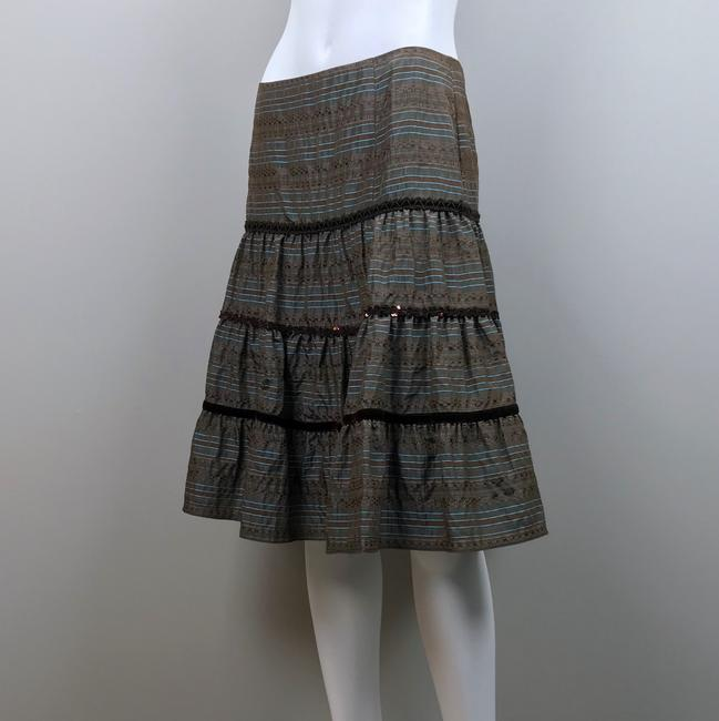 Nanette Lepore Striped Metallic Tiered Sequin Skirt Brown, Blue Image 8