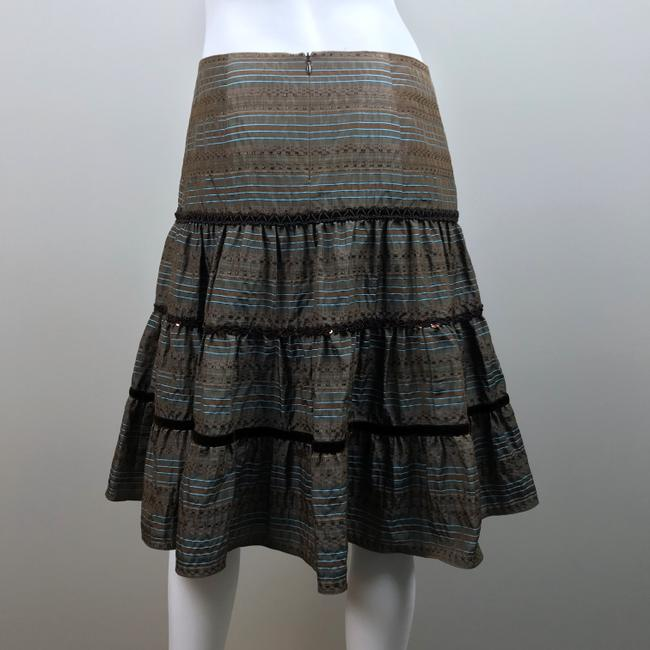 Nanette Lepore Striped Metallic Tiered Sequin Skirt Brown, Blue Image 9