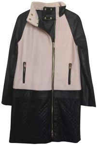 W118 by Walter Baker Vegan Leather Quilted Edgy Classic Pea Coat