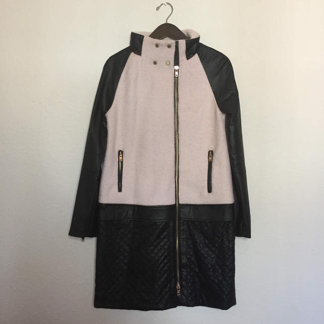 W118 by Walter Baker Vegan Leather Quilted Edgy Classic Pea Coat Image 2