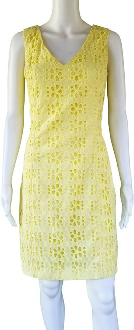 Tommy Hilfiger Yellow Cotton Eyelet Mid-length Short Casual Dress Size 12 (L) Tommy Hilfiger Yellow Cotton Eyelet Mid-length Short Casual Dress Size 12 (L) Image 1