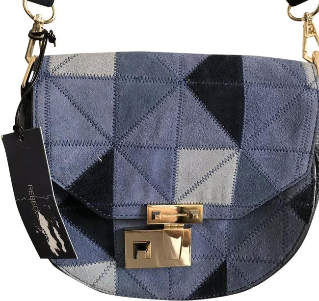 Rebecca Minkoff New W/ Patches Blue/Black Suede Leather Cross Body Bag Rebecca Minkoff New W/ Patches Blue/Black Suede Leather Cross Body Bag Image 1
