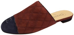 Chanel Quilted Mules Two Tone Suede Cap Toe Burgundy/Navy Flats