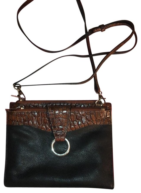 Small with Croc Embossed Trim Black and Brown Leather Cross Body Bag Small with Croc Embossed Trim Black and Brown Leather Cross Body Bag Image 1