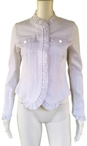 Marc Bouwer Stretch Ruffles White Womens Jean Jacket