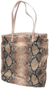 Ted Baker Gold Accents 95% Cotton Pink Snake Print Pink Patent Trim Tote in Black