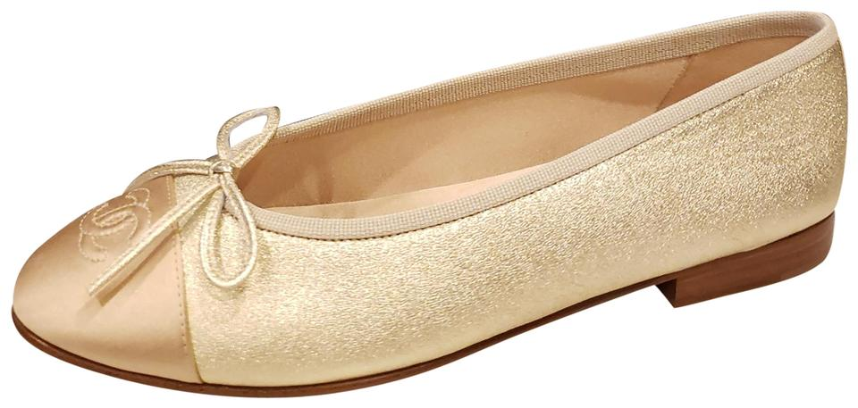 Los Angeles 98156 9d09b Chanel Gold 18p Metallic Leather Bow Cap Toe Ballerina Ballet Flats Size EU  36 (Approx. US 6) Regular (M, B) 25% off retail