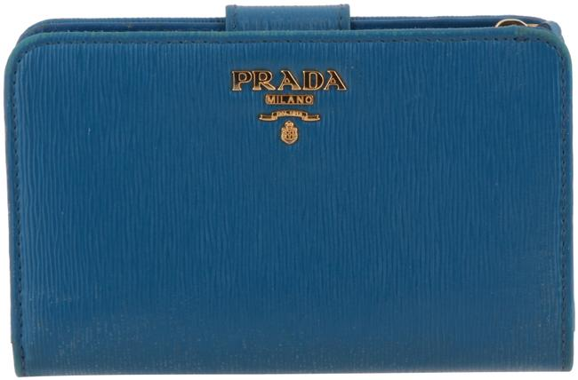 Prada Blue Vitello Move Leather French Wallet Prada Blue Vitello Move Leather French Wallet Image 1