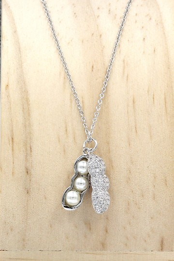 Ocean Fashion Sterling silver peanut crystal pendant necklace Image 2